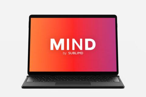Rendering des Logos vom medizinischen Quiz MIND auf einem Laptop